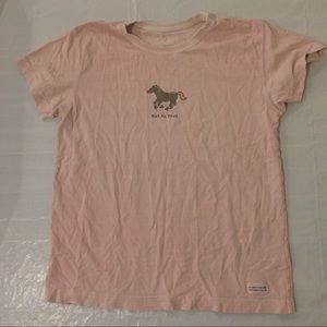 """Life is Good """"Hot to Trot"""" T Shirt Women's S Pink"""